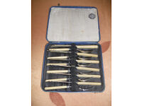 Mid 20th century cutlery set in case.