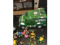 Ninja turtle figures/ truck/motor bike/turtle on horse bak