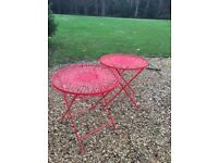 Pair of preloved wrought iron tables, sprayed red