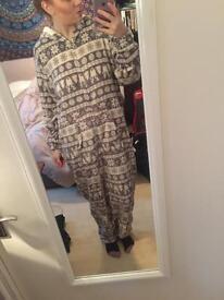 Fair isle Grey and White Luxury Super soft Onesie Pyjamas