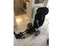 TaylorMade cart bag and Motocaddy S3 lite trolley