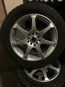 205 55R 60R 16 YOKAHAMA ICEGUARD WINTER SNOW TIRES & ALLOY RIMS UNIVERSAL BOLT PATTERN GOOD SHAPE 7/32NDS TREAD