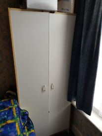 White and pale wood wardrobe