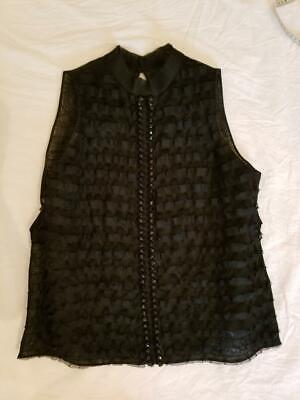 #95 Robert Rodriguez open back top shirt size 6 black rhinestones worn once ()