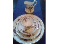 Charming Royal Albert china with purple flowers and gold highlighting