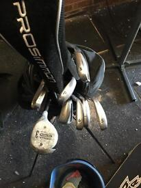 Set of Prosimmon irons plus 1 wood and putter