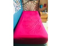 Single Divan Bed with Mattress and Headboard