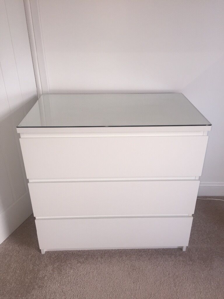 Ikea MALM White 3 drawers with glass top. Ikea MALM White 3 drawers with glass top   in Newcastle  Tyne and