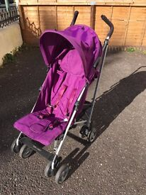 BUGGY PRAM PUSHCHAIR ZETA VOOOM - PLUM with a warm footmuff