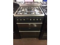 60CM STAINLESS STEEL BLACK SMEG DUEL FUEL GAS COOKER