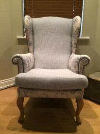 NEW upholstered wingback armchair