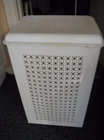 Large White Plastic Linen Basket