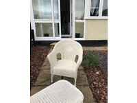 4 piece wicker / wooden garden piece set ( 3 white 1 cream) 2 chairs 1 sofa and 1 table