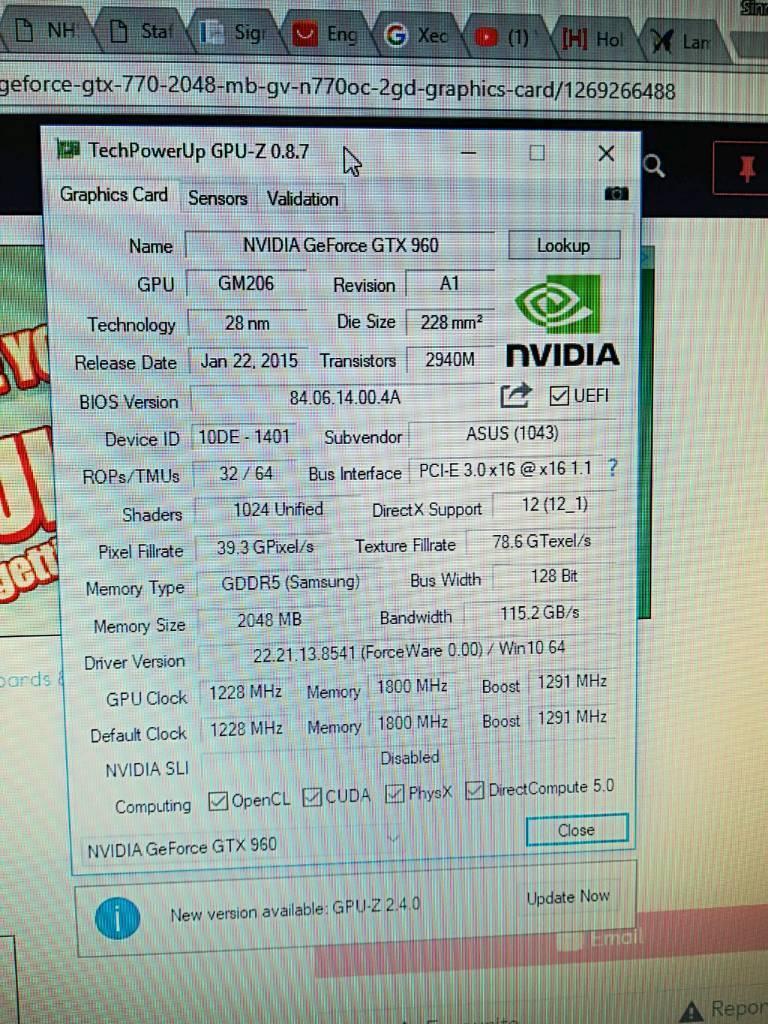 Asus strix gtx 960 2gb gaming Gpu