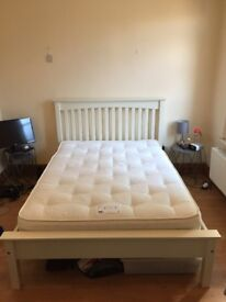 M&S Ivory Wood Double Bed Frame & Double Mattress For Sale