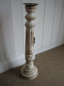 Wooden candlestick. White and beige. Approx 22 inches tall. Good condition.