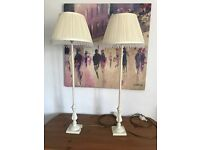 2 x Tall Cream/Ivory Table/Bedside Lamps with Shades