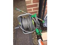 Garden water hose with sprinkle