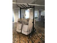 37 folding steel chairs and trolley job lot in warm grey (cafe , events , outdoor, indoor )