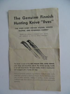 c.1950s Marttiini Finish Hunting Knife Illustrated Price List Catalog Brochure