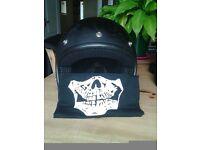 Black openface motorbike helmet