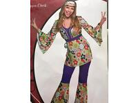 Ladies fancy dress costume hippy 60s 70s outfit medium size 12-14