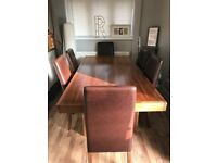 Dark wood Fishpools Table and 6 chairs