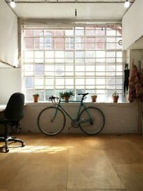 2 Desks for rent in a light and versatile Shoreditch Sunbury Studio with 3D workshop