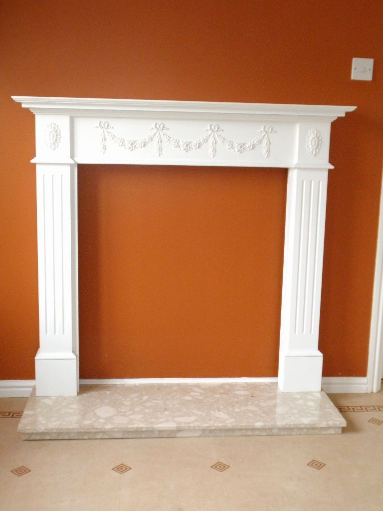 white antique regency adams style fireplace surround with marble