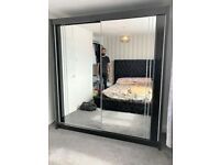 💥💯ULTRA SALES 2 DOORS SLIDING WARDROBE WITH FULL MIRRORS ALL SHELVES & RAILS INCLUDED