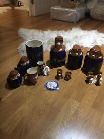 Tetley Tea collection - storage jars, cookie jar, salt/pepper/tea pot/jug, etc