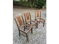 Antique oak chair frames, c.1930s, in need of restoration