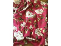 DARK PINK FLORAL HEAVY LINED CURTAINS SUIT TENEMENT FLAT