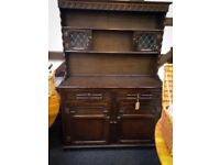 Beautiful large wooden Welsh dresser with leaded glass