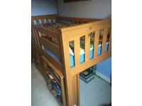 Solid wood mid sleeper single bed