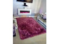 Extra large super thick pile silky soft shiny shaggy rug in mauve- size 8ftx 5.5ft