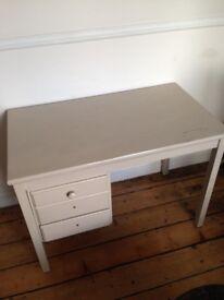 Grey, painted wooden desk (£20)