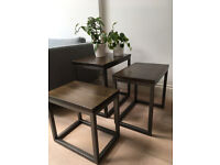 Swoon coffee/side tables. Set of 3 nesting tables. Industrial style.