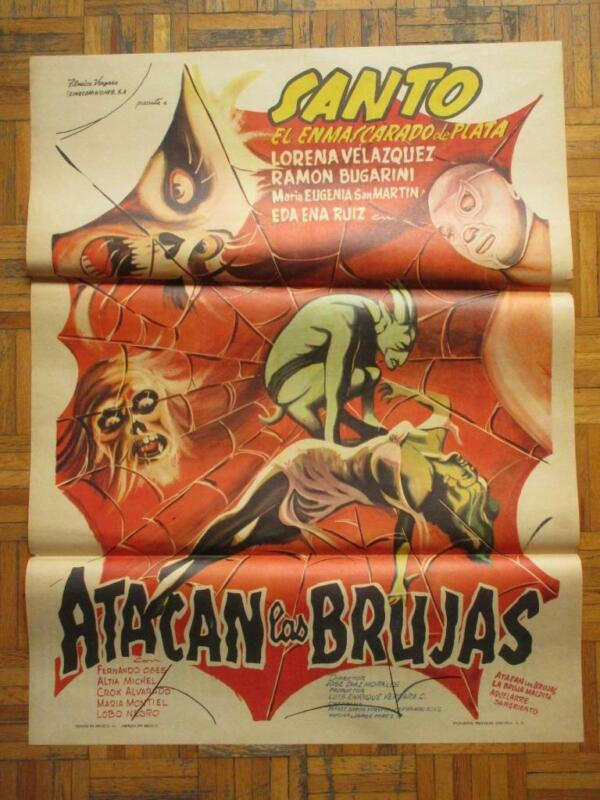THE WITCHES ATTACK Horror EL SANTO ATACAN LAS BRUJAS AMAZING ART MEXICAN POSTER