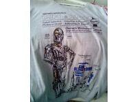 STAR WARS original C-3PO &R2-D2 Grey Haynes manual TSHIRT