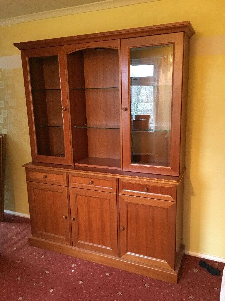 Display Cabinet Wooden Built In Lights And Glass Shelves