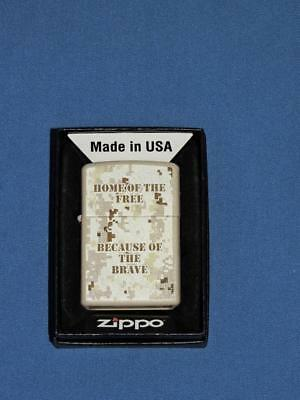 ZIPPO Military Heroes Lighter Home of the Free Because of the Brave Army Soldier
