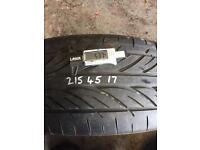 215/45/17 tyre Approx 5.3mm tread
