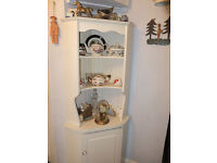 Corner kitchen display unit painted pine