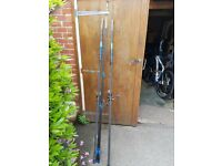 2 x sonik sk4 beachcaster rods and 2 penn surfblaster reels