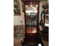 Striking Carved Rosewood Bow Front Mirror Back Glass Display Corner Cabinet Cupboard Internal Light