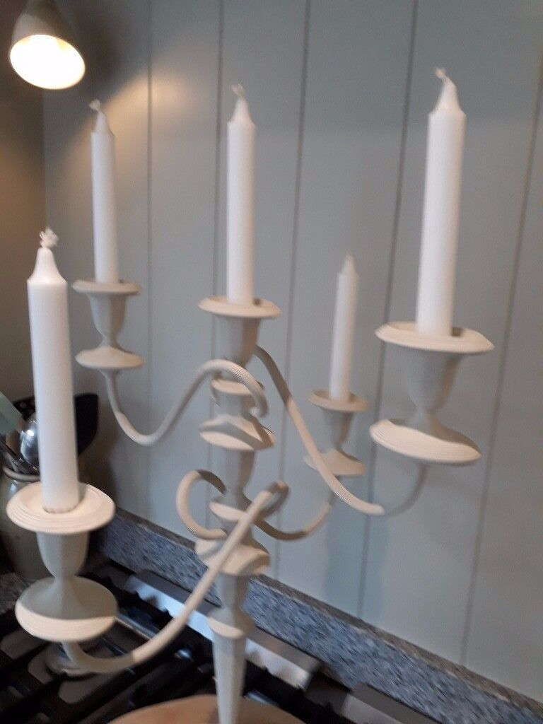 Beautiful Farrow & Ball Lime White Solid brass Candelabra - can be used with 1, 3 or 5 candles