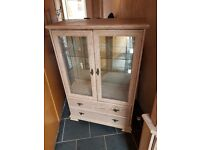 LIME OAK CORNER CABINET AND GLASS CABINET