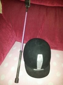 Harry hall horse riding helmet 55cm and riding crop