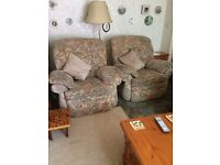 3 seater sofa and 2 reclining chairs